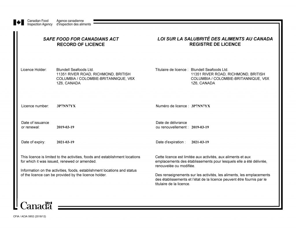 CFIA Fish Import Licence
