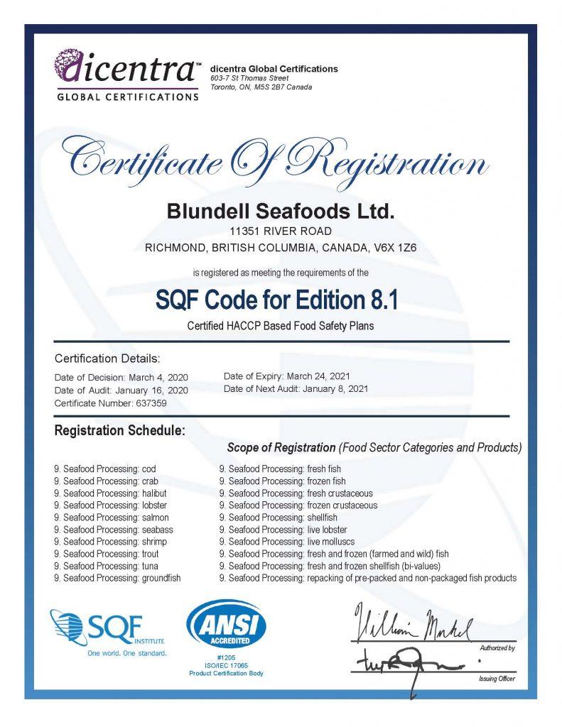 SQF HACCP Certificate